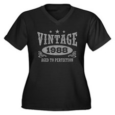 Vintage 1988 Women's Plus Size V-Neck Dark T-Shirt