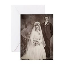 1800s bride groom antique black whit Greeting Card