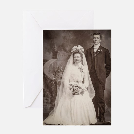 1800s bride groom antique black whit Greeting Card
