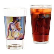 rainbow nude fine art painting Drinking Glass