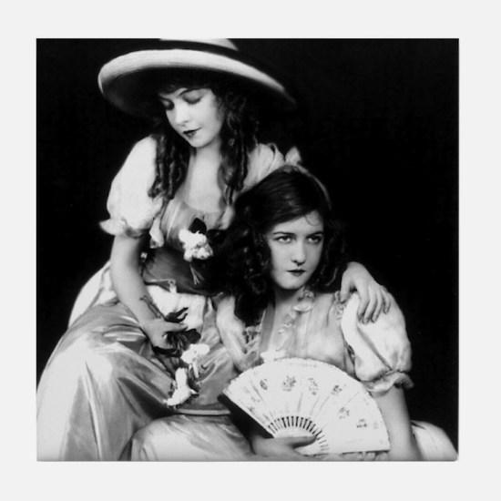 lillian dorothy gish sisters black wh Tile Coaster