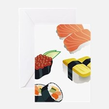 sushi japanese food white print Greeting Cards