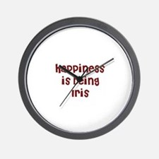 happiness is being Iris Wall Clock