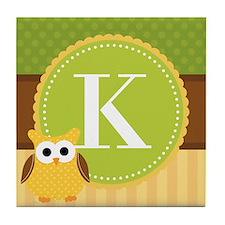 Personalized Cute Owl Monogram Tile Coaster