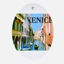Gondolier in Canal in Venice Ornament (Oval)