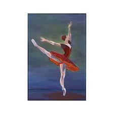 Red Ballerina Rectangle Magnet