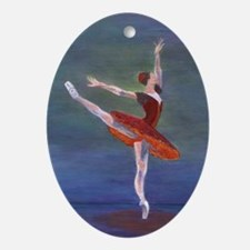 Red Ballerina Oval Ornament