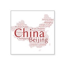 "Cute China map Square Sticker 3"" x 3"""