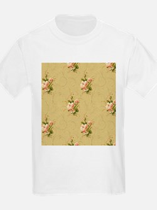 vintage beige victorian floral T-Shirt