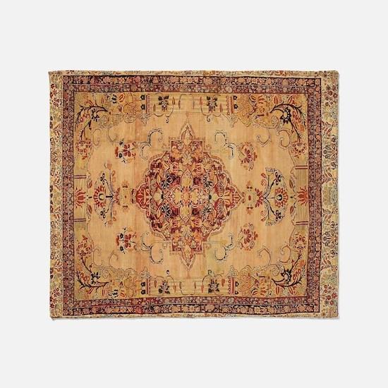 Antique Kerman flowered Pattern Throw Blanket