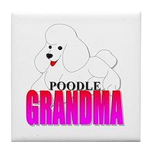 White Poodle Grandma Tile Coaster