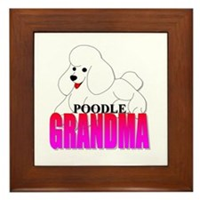 White Poodle Grandma Framed Tile