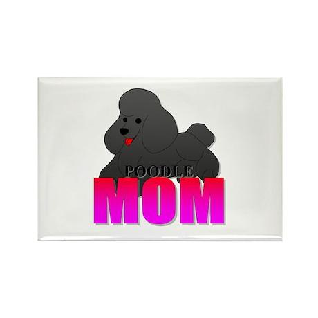 Black Poodle Mom Rectangle Magnet (100 pack)