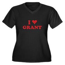 I LOVE GRANT Women's Plus Size V-Neck Dark T-Shirt