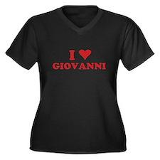 I LOVE GIOVANNI Women's Plus Size V-Neck Dark T-Sh