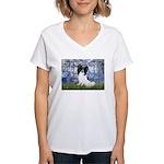 Lilies (#6) & Papillon Women's V-Neck T-Shirt