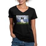 Lilies (#6) & Papillon Women's V-Neck Dark T-Shirt