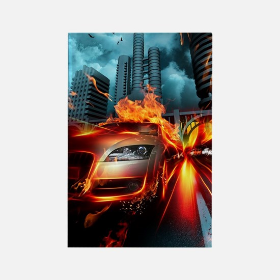 Fire Car Fantasy Rectangle Magnet