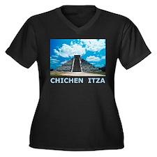 Chichen Itza Women's Plus Size V-Neck Dark T-Shirt
