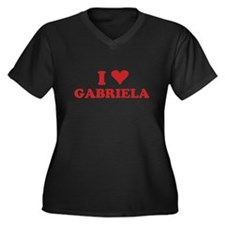 I LOVE GABRIELA Women's Plus Size V-Neck Dark T-Sh