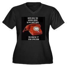 Rotary Phone Women's Plus Size V-Neck Dark T-Shirt