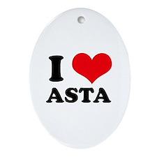 I Love Heart Asta Oval Ornament