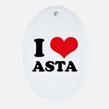 I Love Heart Asta Oval Ornament
