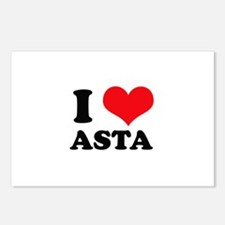 I Love Heart Asta Postcards (Package of 8)
