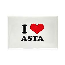 I Love Heart Asta Rectangle Magnet