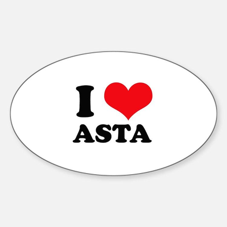 I Love Heart Asta Oval Decal