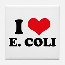I Love Heart E. Coli Tile Coaster