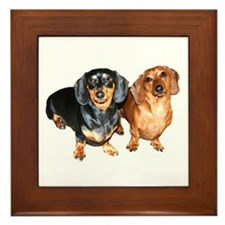 Double Dachshund Dogs Framed Tile
