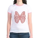 large pink butterfly Jr. Ringer T-Shirt