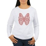 large pink butterfly Women's Long Sleeve T-Shirt