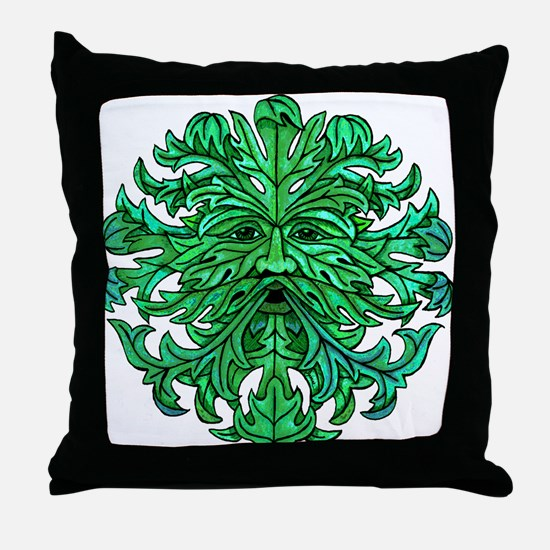 Green Man Gaze Throw Pillow