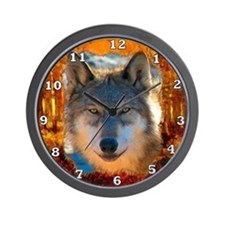 Gray Wolf Face Wall Clock