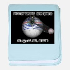 America's Eclipse with Moon August 21 baby blanket