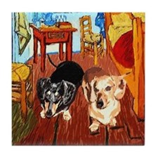 Double Dachshunds Van Gogh Tile Coaster