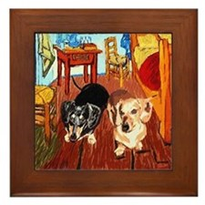 Double Dachshunds Van Gogh Framed Tile