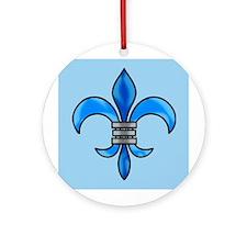 Pretty blue fleur delis Christmas ornament