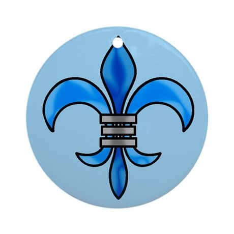 Pretty blue fleur delis Christmas ornament