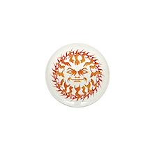 Tribal Burning Sun Orange Yellow Mini Button