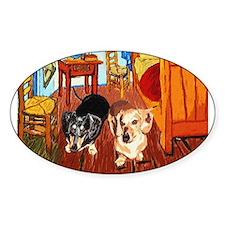 Double Dachshunds Van Gogh Oval Decal