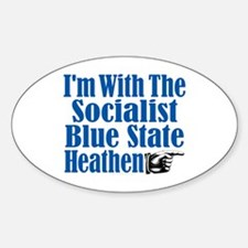 I'm With the Socialist Blue State Heathen Decal