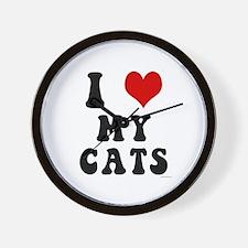 I Love (Heart) My Cats Wall Clock