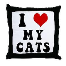 I Love (Heart) My Cats Throw Pillow
