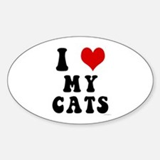 I Love (Heart) My Cats Oval Decal