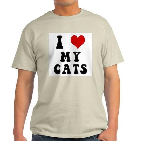 I Love (Heart) My Cats Light T-Shirt