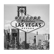 Las Vegas Strip & Sign black & white Tile Coaster