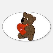 i love God teddy bear Decal